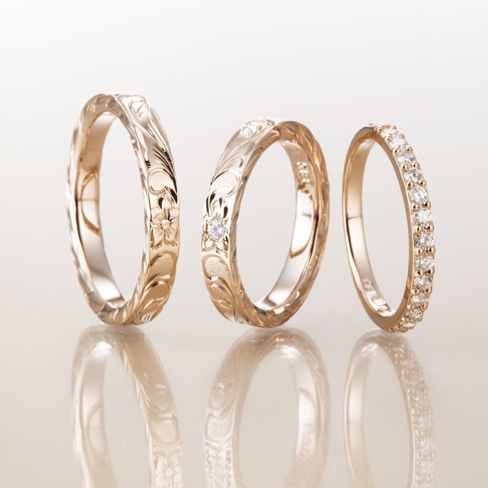 結婚指輪ハワイアンジュエリーマカナハーフエタニティ