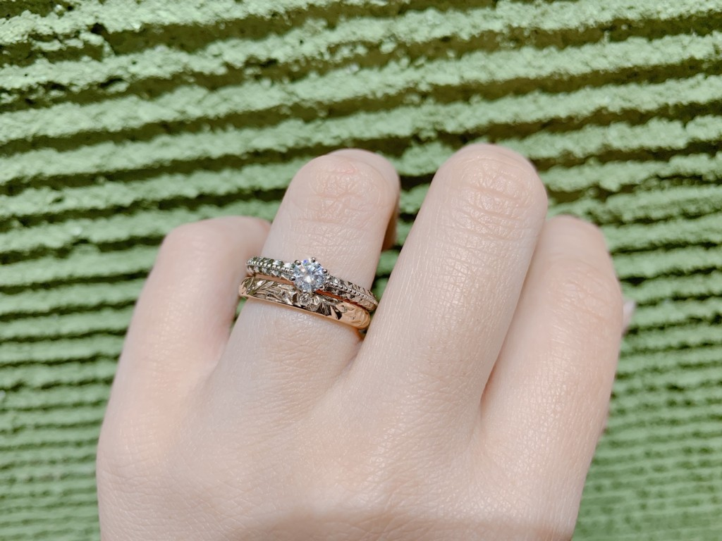 神戸・三ノ宮マカナ婚約指輪重ね付け