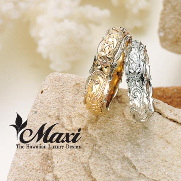 TWO-TONE:Old English Maxi【マキシ】   ハワイアンジュエリーの結婚指輪
