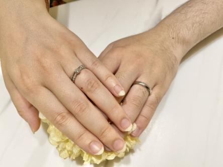 神戸市東灘区 エメルワールの婚約指輪とマリアージュエントの結婚指輪