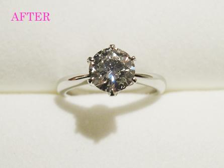 神戸三ノ宮 ご主人のお母様から頂いたピアスを指輪にリフォーム