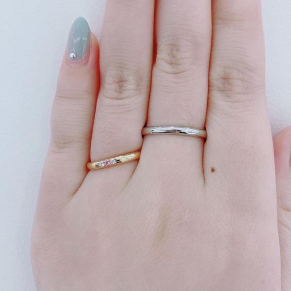 神戸市カラーストーン結婚指輪SOピンクサファイア